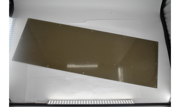 "PLEXIGLASS FRONT SAFETY FINGER GUARD 40""X14""X1/4"
